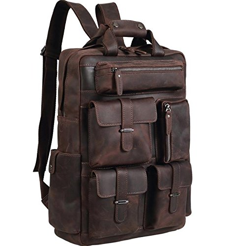 Polare Mens Handcrafted Real Leather Vintage Laptop Backpack ... 6fc158b8f119c