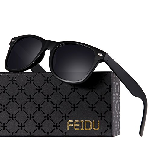 5c2e9607f8 FEIDU Classic Men s Polarized Wayfarer Retro Sunglasses Unisex for Women FD  2149 A Matte Black