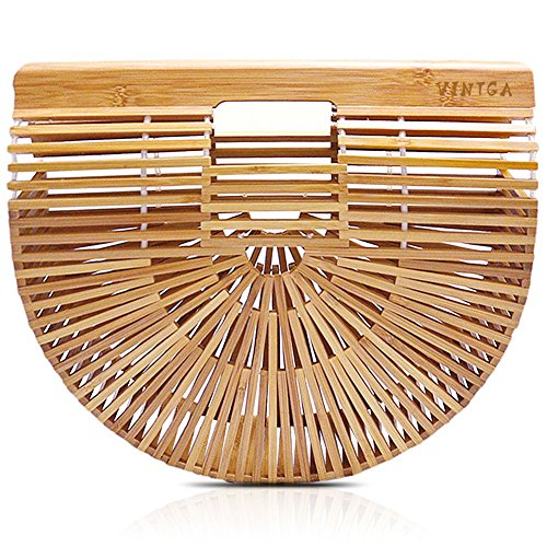 9fce7ae44b0d Vintga Bamboo Handbag Handmade Tote Bamboo Purse Straw Beach Bag for ...