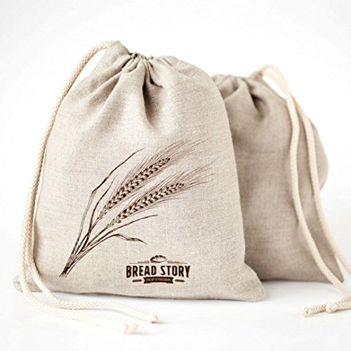 Ideal for homemade Artisan Bread, Unbleached, Reusable Food Storage. Eco friendly - the linen bread bags for handmade artisan breads are Unbleached, ...