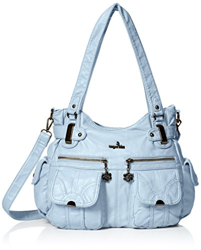 Angelkiss Women s Handbag Large Double Zipper Multi Pocket Washed Shoulder  bag Designer Handbags for Women 01f67dc539f65