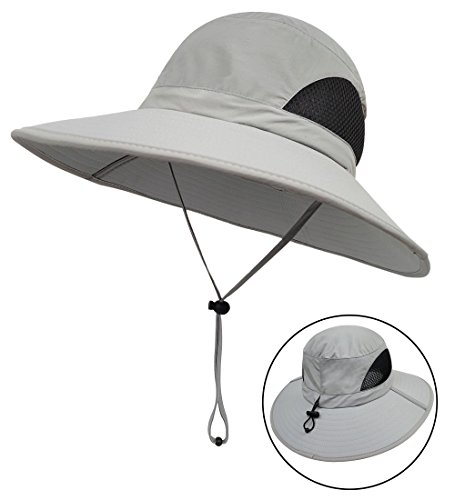f8b326ef LETHMIK Outdoor Waterproof Fishing Hat,Summer UV Protection Breathable  Boonie Hat Hunting Safari Sun Hat Light Grey