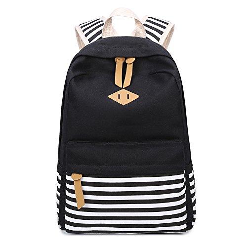 bd26c5101ee9 Abshoo Causal Canvas Stripe Backpack Cute Lightweight Teen Backpacks For Girls  School Bookbag Black