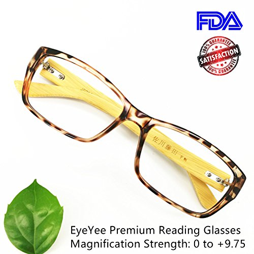 18a67d6b74a7 Bamboo Reading Glasses Comfortable Fit for Women Men High Magnification  Light Tortoise Readers Anti Glare Anti Eye Strain