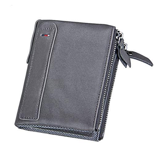 "1696dfde2 Men RFID Blocking Wallet Small Vintage Crazy Horse Leather Short Purse  Bifold 4.8"" x 3.7"" x 1.1"", 3583 Grey"